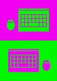 TOP-VIEW膝上型计算机和老鼠象 库存照片