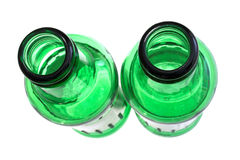 Top view. Two green bottles pictured from the top Stock Photo