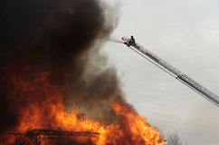 Top view. Fireman fights fire stock photo