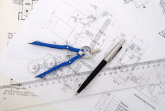 Top view. Technical drawing with ruler and pen Royalty Free Stock Photo