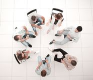Free Top View. A Team Of Successful Young Employees Royalty Free Stock Photos - 135874238