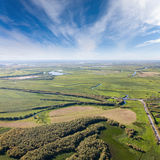 Top view above fields beside the river Royalty Free Stock Image