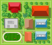 Top view from above. On a city street with trees stock illustration