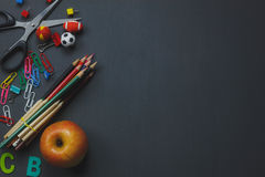 Top view accessories back to school or items desktop Stock Photo