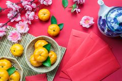 Top view accessories Chinese new year festival decorations. royalty free stock images