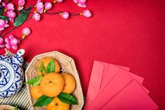 Top view accessories Chinese new year festival,leaf,wood basket, royalty free stock photo