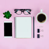 Top view of accessories on pink background Stock Image