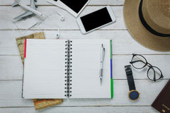 Top view accessories to travel concept.Notebook free space for w Stock Image