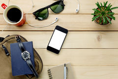 Top view accessories  travel with mobilephone,sunglasses,bag,wat. Accessories  travel with mobile phone,sunglasses,bag,watch,notepaper,earphones,pen,cactus Stock Photo
