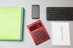 Top view  of accountant desktop Stock Photos