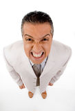 Top view of adult manager grinding his teeth Royalty Free Stock Images