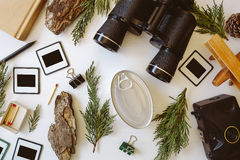 Top view of adventure vintage gear for traveling Royalty Free Stock Images