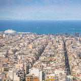 Top View of the Aegean sea and streets labyrinth of Greek capital Athens. Stock Images
