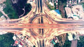 Top view aerial view Expressway motorway highway circus intersection. Shot from drone. royalty free stock image