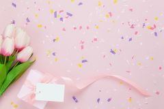 Top view aerial image of decoration Happy mothers day stock photography
