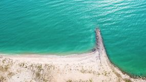 Top view aerial image from drone of an stunning beautiful sea landscape beach with turquoise water. With copy space for your text.Beautiful Sand beach with Royalty Free Stock Image