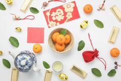 Top view aerial image shot of arrangement decoration Chinese new year & lunar new year Stock Photos