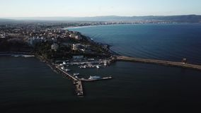 Top view aerial of Nessebar city on the Black Sea coast of Bulgaria, new part. And a bridge leading to the old city stock video footage