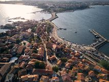 General aerial view of Nessebar, ancient city on the Black Sea coast of Bulgaria royalty free stock photos