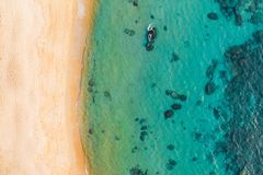 Top view aerial photo from flying drone an amazingly beautiful sea landscape with turquoise water with copy space for your. Top view aerial photo from flying royalty free stock photo