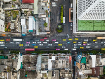 Top view aerial shot of the heavy traffic jam in the city center Royalty Free Stock Images