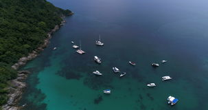 Top view aerial shot of ship port at Koh Racha Yai island stock footage
