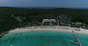 Top view aerial shot of ship port at Koh Racha Yai island. Phuket, Thailand stock video footage