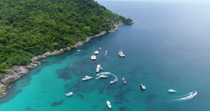 Top view aerial shot of ship port at Koh Racha Yai island stock video
