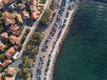 Aerial view of tile roofs of old Nessebar, ancient city, Bulgaria royalty free stock photos