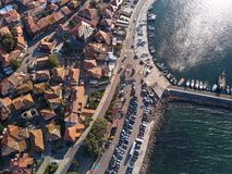 Aerial view of tile roofs of old Nessebar, ancient city, Bulgaria stock image
