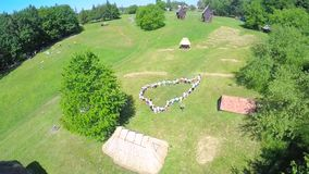 Top view aerial video of happy little childrens running on the meadow stock footage
