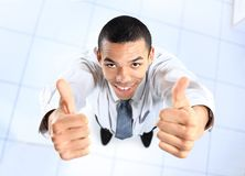 Top view of african businessman giving OK Stock Photography
