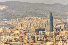 Top view of Agbar Tower and Barcelona city, Spain. BARCELONA, SPAIN, September 19: Scenic aerial view of the Agbar Tower in Barcelona in Spain in 2008 Royalty Free Stock Images