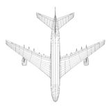 Top view of airplane in wire-frame style. EPS 10 vector format. Vector rendering of 3d Stock Photography