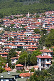 Top view Akyaka,  Mugla province in southwestern Turkey. Aerial view of Akyaka. Akyaka is a coastal township with its own municipality in the Ula district of Stock Photography