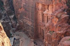 Top view of Al Khazneh or Treasury - Nabatean rock-cut temple of Hellenistic period of ancient Petra, originally known to. Nabataeans as Raqmu - historical city stock image