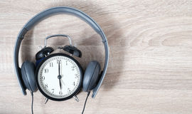 Top View Alarm Clock. Timeless Music Concept. Royalty Free Stock Photo
