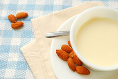 Top view of almond drink Royalty Free Stock Photo