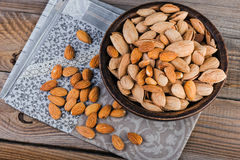 Top view of almonds and pistachios Stock Photos