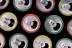 Top view of aluminum cans for beer or juice with a colored strok Royalty Free Stock Image