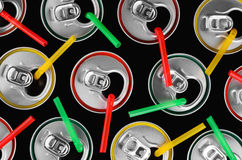 Top view of aluminum cans with colorful straws and colorful stro Stock Image