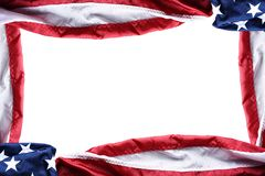 Top view of an American flags forming a frame with copy space in the middle. Horizontal format royalty free stock images