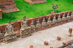 Top view of ancient buddha statue in a row Royalty Free Stock Photo