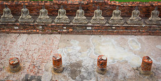 Top view of ancient buddha statue in a row Royalty Free Stock Image