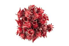 Top view angle of red roselle. Isolated on white background and soft shadow stock photo