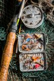 Top view of angler equipment with hooks, floats and rods. Retro style royalty free stock image