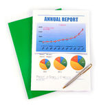 Top view of annual report. Royalty Free Stock Photography