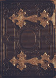 Top view of antique book cover, with brass clasps stock photos