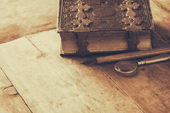 Top view of antique book cover, with brass clasps Royalty Free Stock Photography