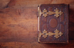 Top view of antique book cover, with brass clasps Royalty Free Stock Image
